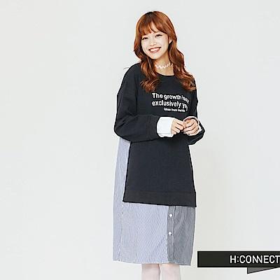 H:CONNECT 韓國品牌 女裝-條紋拼接文字洋裝-藍