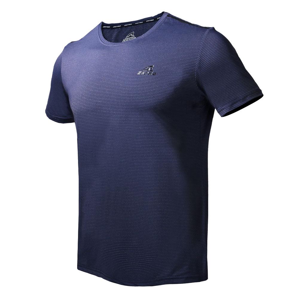 【ZEPRO】男子橫壓紋涼感運動短袖上衣-深藍