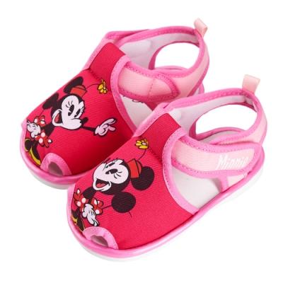 迪士尼童鞋 米妮 經典造型護趾嗶嗶涼鞋-桃(柏睿鞋業)