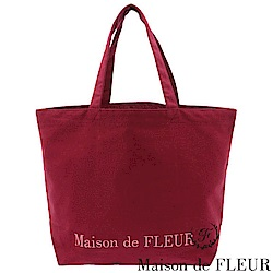 Maison de FLEUR 簡約刺繡LOGO帆布手提包