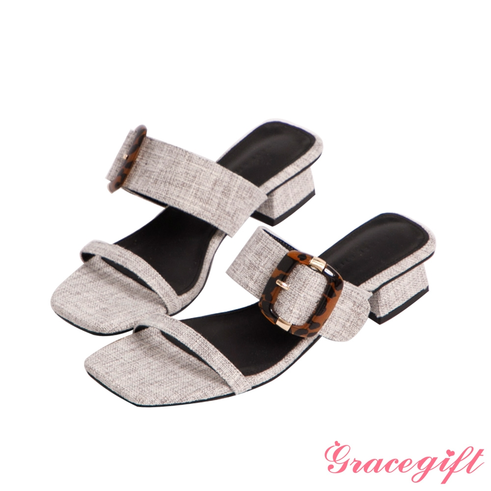 Grace gift-雙帶方釦低跟涼拖鞋 灰