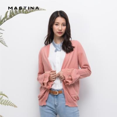 【MASTINA】浪漫優雅蕾絲袖口開襟-針織衫(三色)