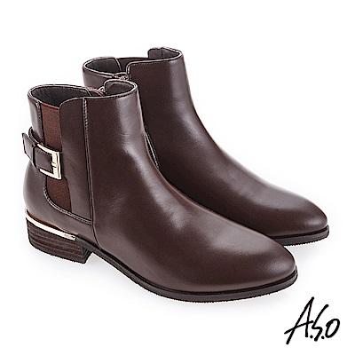 A.S.O 質感嚴選 輕鬆穿脫真皮美靴 咖啡