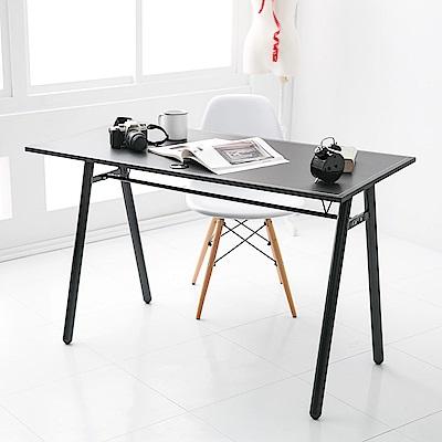 【日居良品】MIT 低甲醛質感馬鞍皮加大A字桌/工作桌/電腦桌(120公分寬)