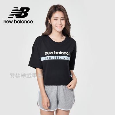 【New Balance】品牌短版短袖T_女性_黑色_AWT11508BK