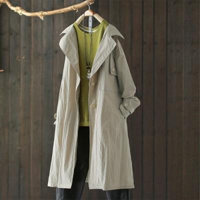 單色棉質風衣中長版寬鬆外套-設計所在
