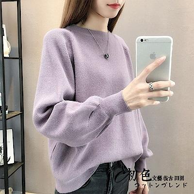 純色燈籠袖針織毛衣-共4色(F可選)   初色