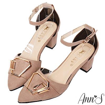 Ann'S都會女子-六角金扣繫帶粗跟尖頭鞋-乾燥玫瑰粉
