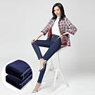 2F韓衣-韓系加寬高腰塑型水洗加絨牛仔褲-藍