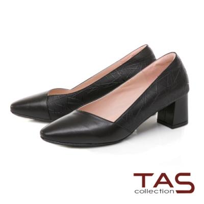 TAS 異材質拼接尖頭粗跟鞋-百搭黑