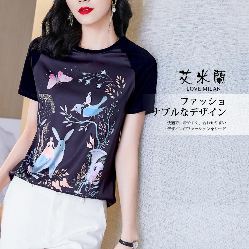 艾米蘭-韓版甜美氣質百搭印花圓領造型上衣-黑色(M-XL)