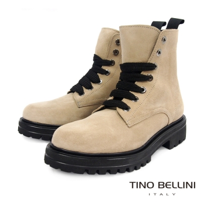 Tino Bellini西班牙進口亮眼全真皮綁帶工程短靴_米