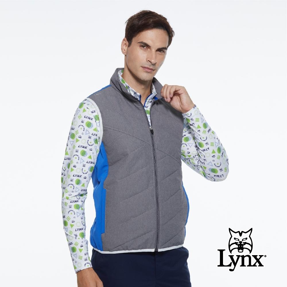 【Lynx Golf】男款防潑水防風保暖科技羽絨異材質剪裁無袖背心-寶藍色