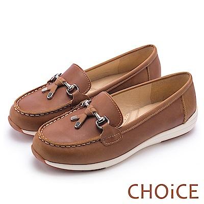 CHOiCE 減壓舒適款 質感牛皮手縫厚底平底鞋-棕色