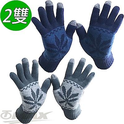 OMAX觸控雙層保暖針織手套-男-2雙 (藍色+深灰)-快
