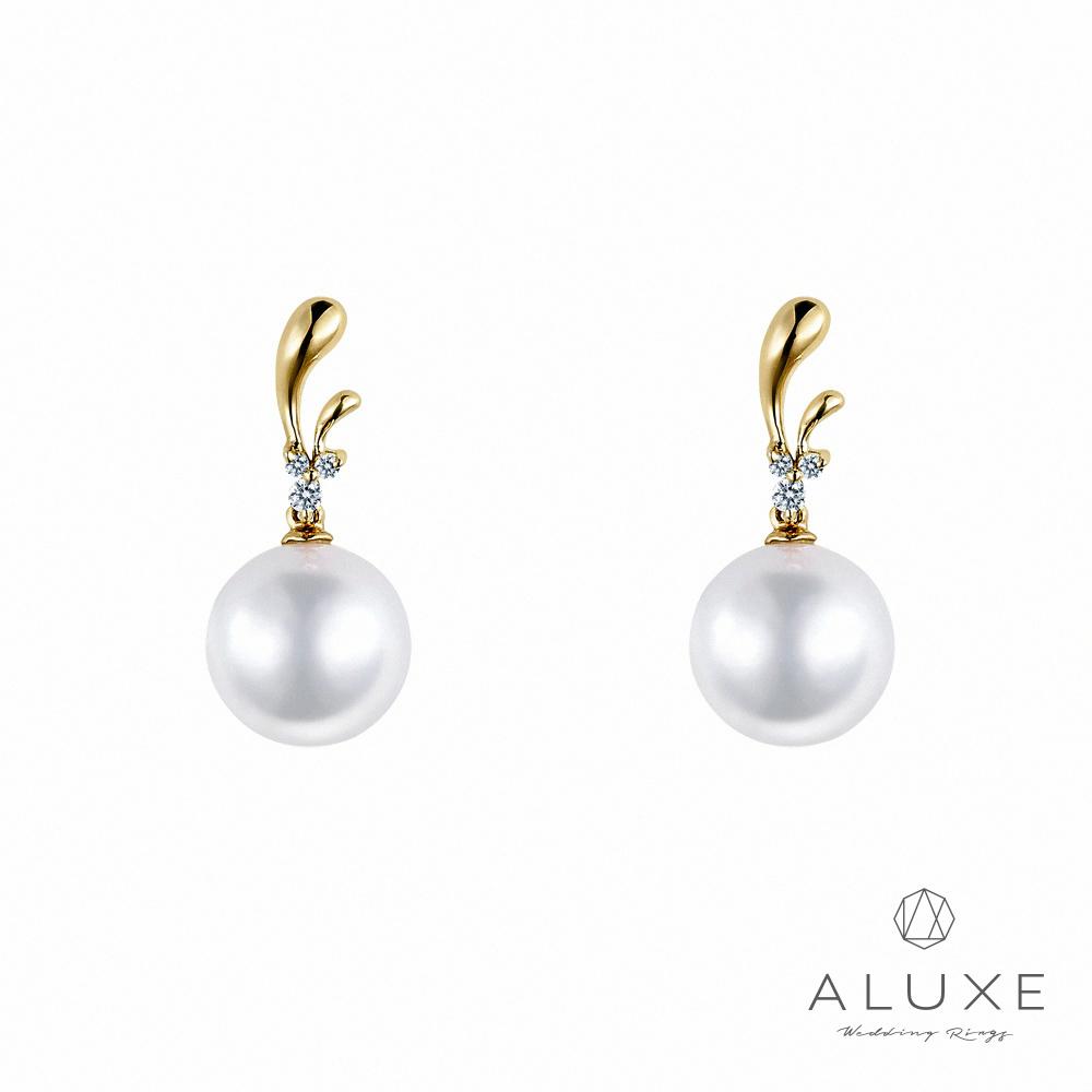 ALUXE亞立詩日本AKOYA 7-7.5mm 珍珠美鑽耳環
