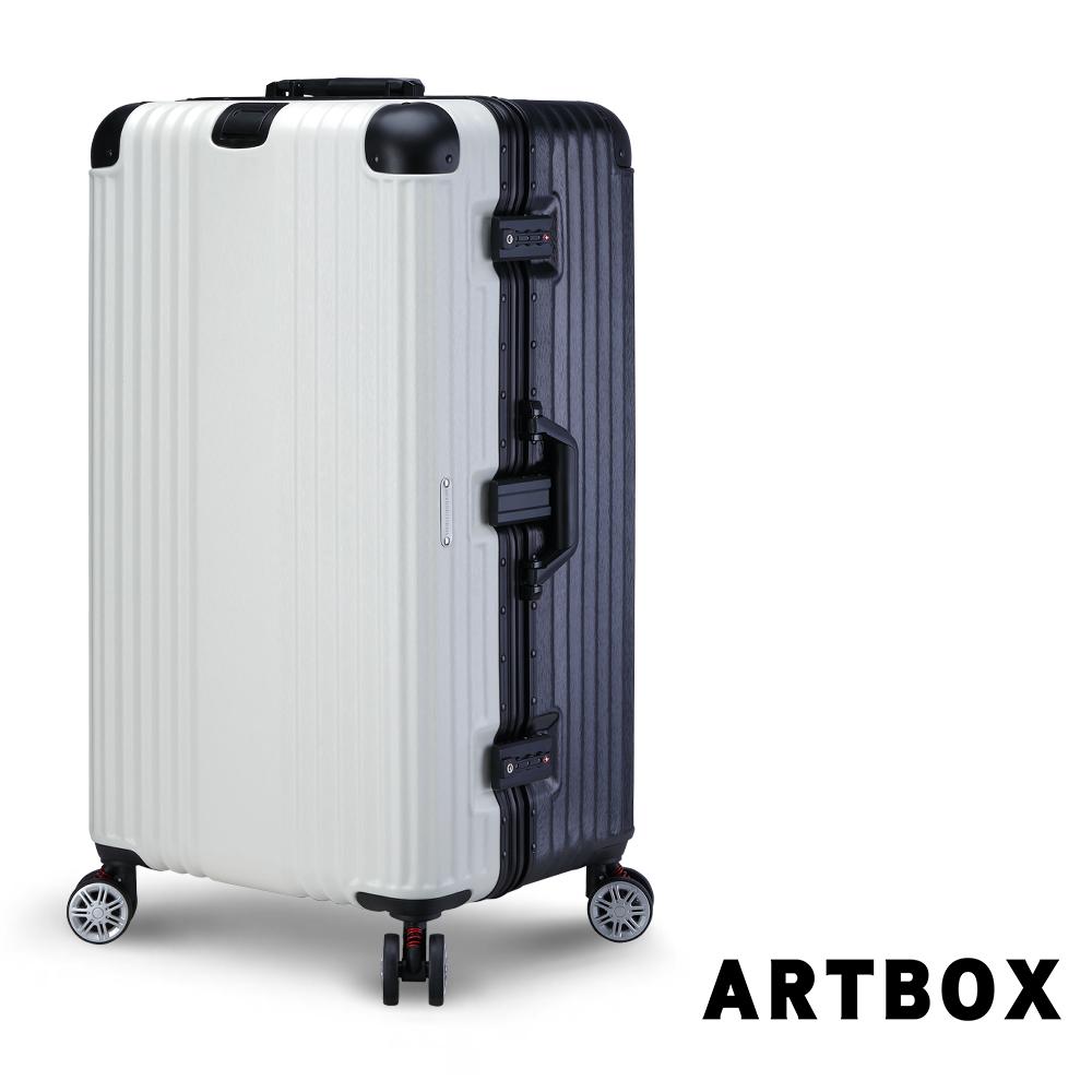 【ARTBOX】奧頌漫遊 30吋運動款胖胖鋁框行李箱(黑X白)