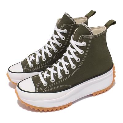 Converse 休閒鞋 Run Star Hike 厚底 男女鞋 經典款 帆布 增高 情侶穿搭 球鞋 綠 白 171667C
