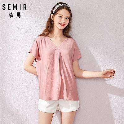 SEMIR森馬-優雅寬版後交叉V領造型襯衫-女(2色)
