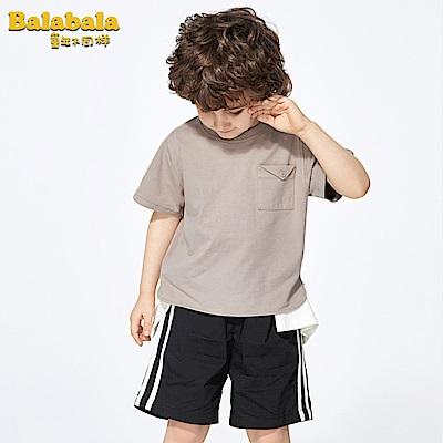 Balabala巴拉巴拉-俏皮小口袋造型寬版短袖T恤-男(咖啡色)