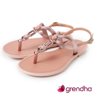 Grendha 璀璨宮廷寶石平底涼鞋-粉/玫瑰金