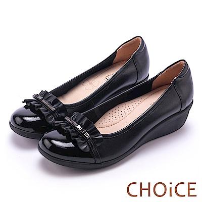 CHOiCE Q軟舒適優雅 抓皺牛皮水鑽坡跟鞋-黑色