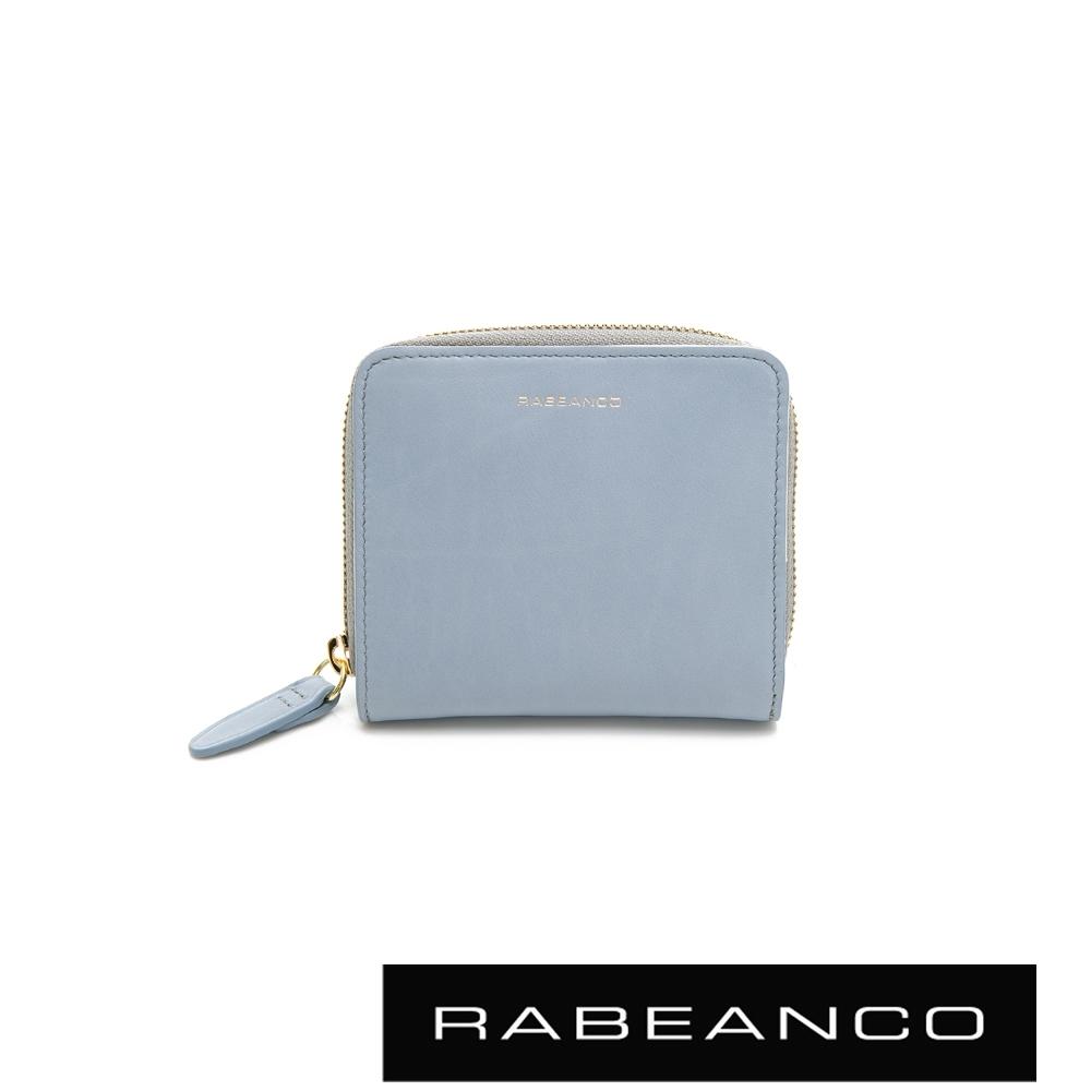 RABEANCO 迷時尚系列撞色拉鍊短夾 水藍