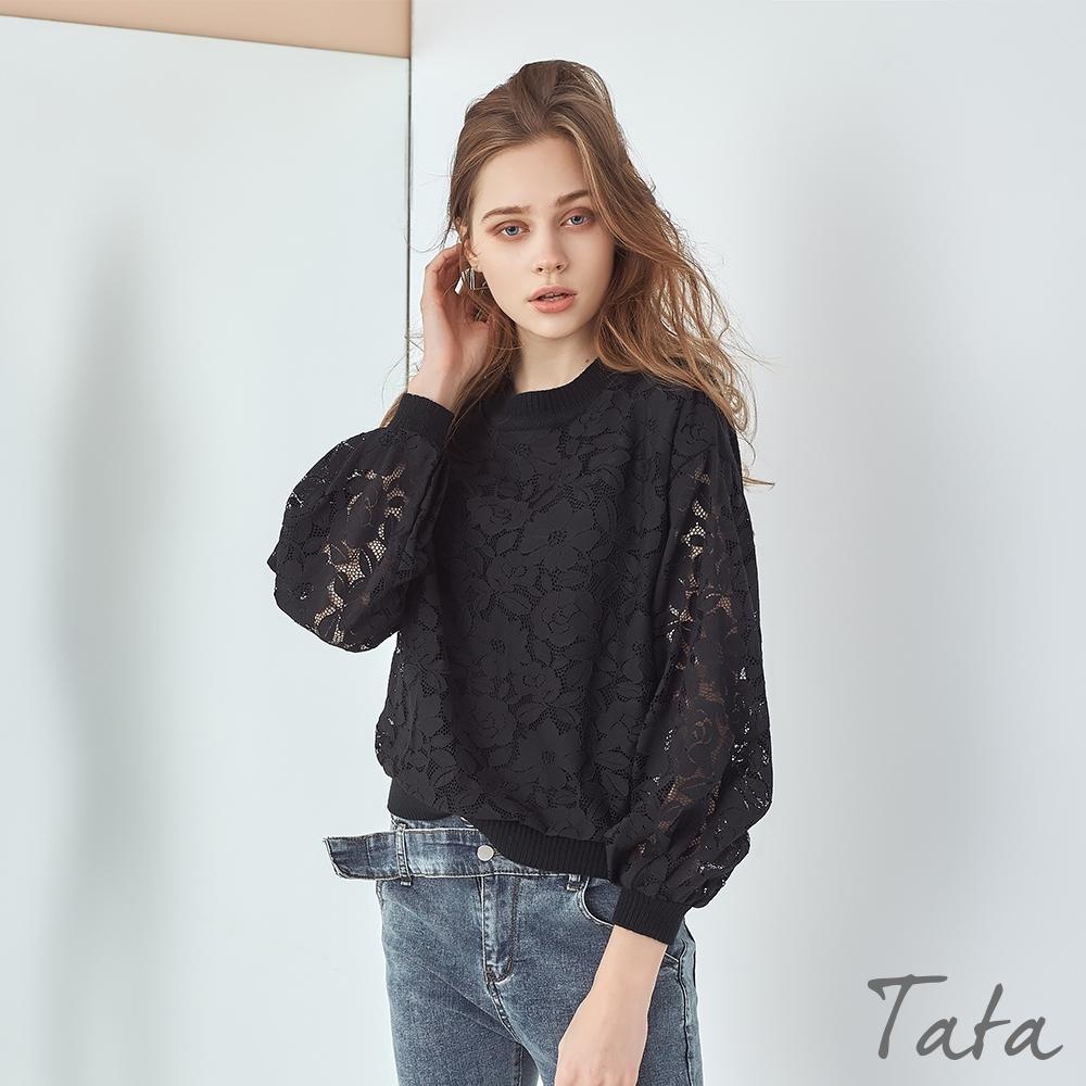 燈籠袖蕾絲拼接上衣 共二色 TATA-F