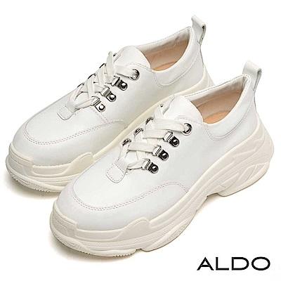 ALDO 原色真皮復古限定綁帶厚底休閒鞋~不敗白色