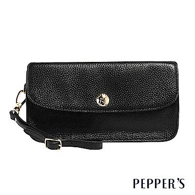PEPPER`S Doris 牛皮掀蓋手拿包 - 煙燻黑