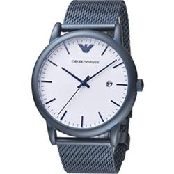 Emporio Armani Dress 米蘭帶時尚腕錶(AR11025)白x藍/43mm