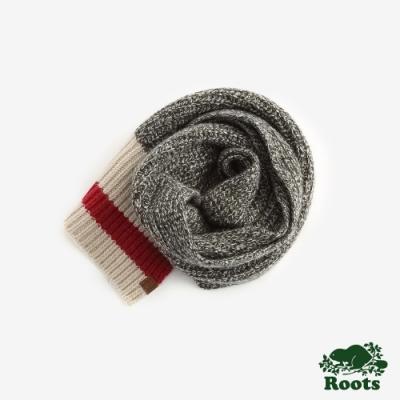 ROOTS配件- 溫馨佳節羊毛長條圍巾 -灰