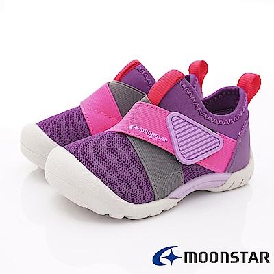 日本Carrot機能童鞋 2E撥水加工襪套款 TW2189紫(中小童段)