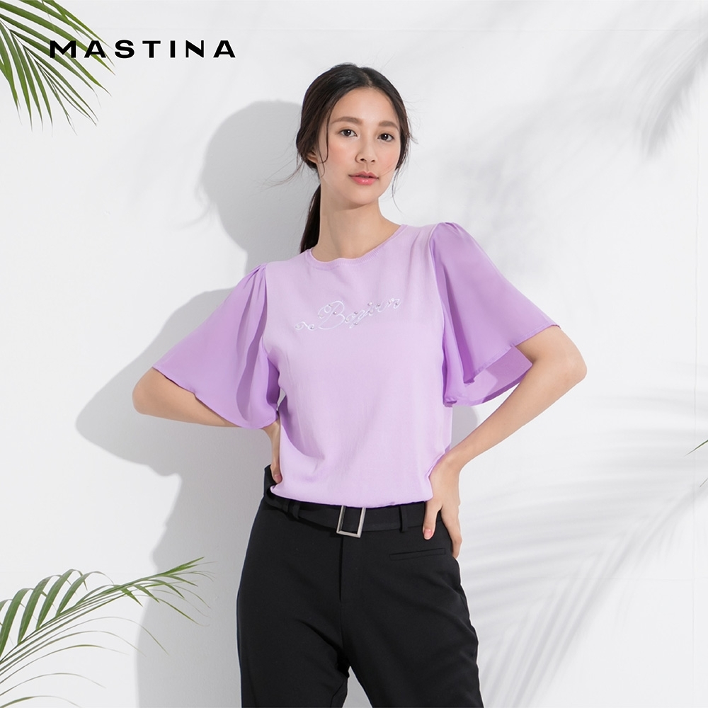 【MASTINA】刺繡珍珠點綴薄紗衣袖-針織衫(三色)