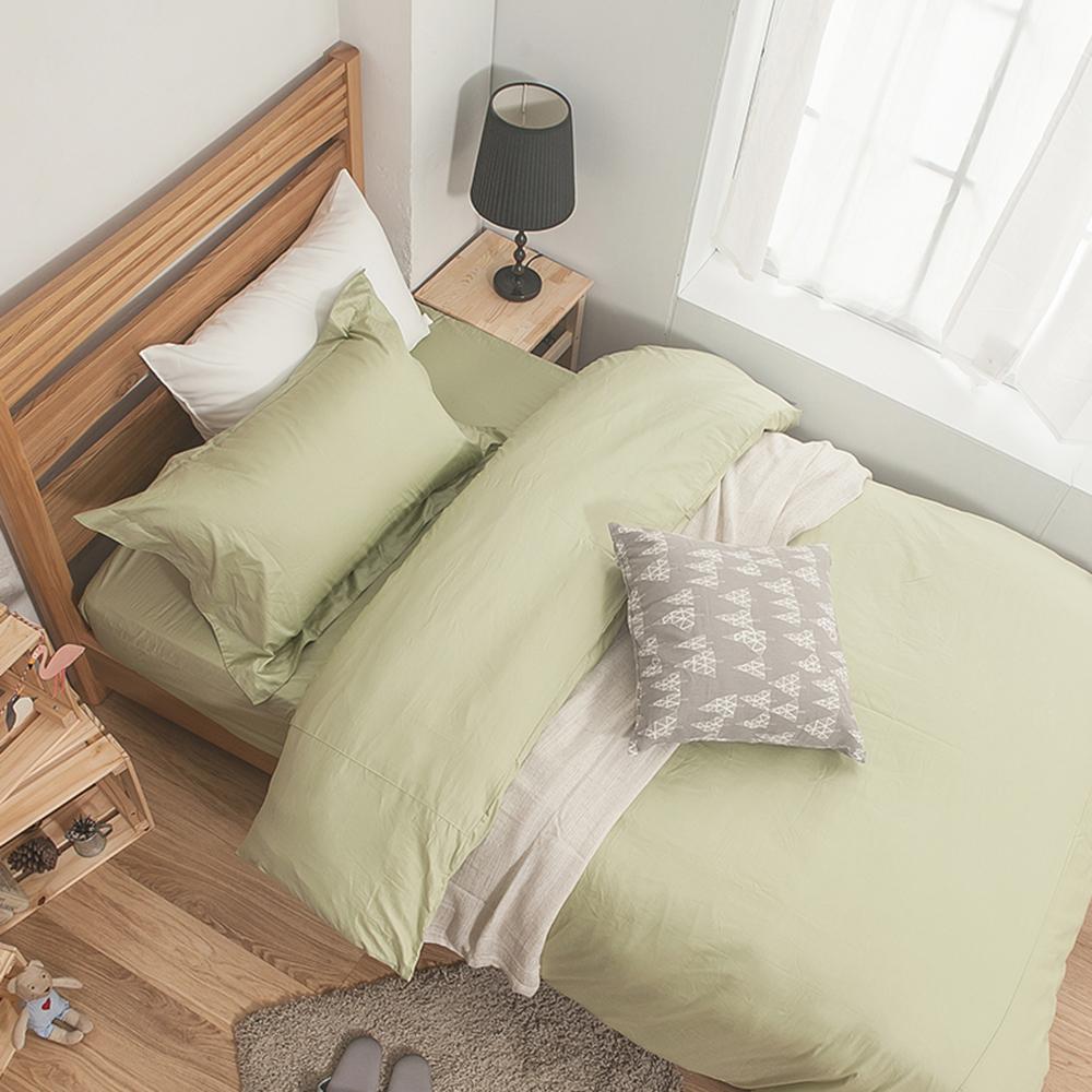 戀家小舖 / 雙人加大床包被套組  簡單生活系列-果綠  100%精梳棉  台灣製