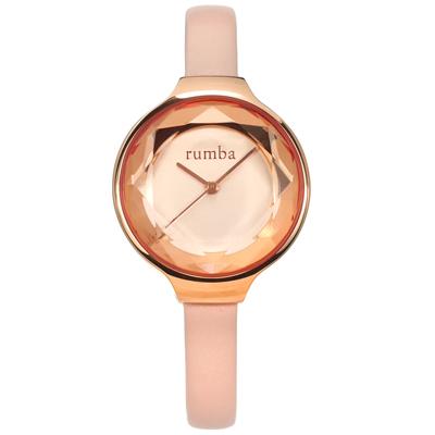 rumba time 紐約品牌 切割玻璃鏡面 日本機芯 真皮手錶-粉x玫瑰金框/30mm