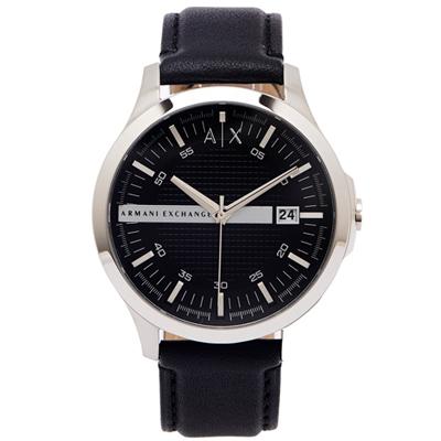 ARMANI EXCHANGE 時尚風皮革手錶(AX2101)-黑面X黑色/46mm