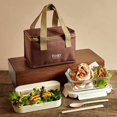[買一送一] 法國FORUOR TOGO森沐 雙層耐熱玻璃餐盒提袋組800ml(快)