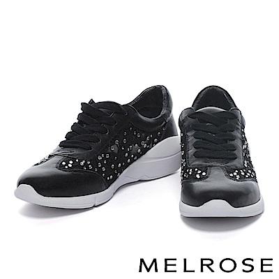 休閒鞋 MELROSE 異材質拼接華麗白鑽刺繡網布綁帶厚底休閒鞋-黑