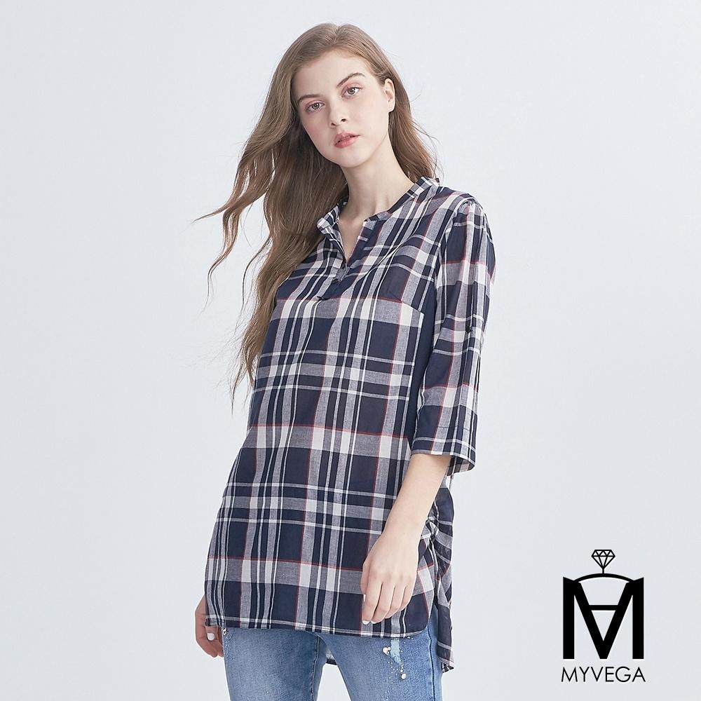 麥雪爾 MA英式格紋撞色長版襯衫