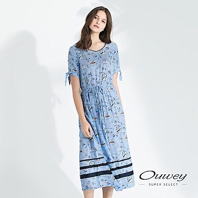 OUWEY歐薇 輕薄感海洋童趣印花長版洋裝(藍)