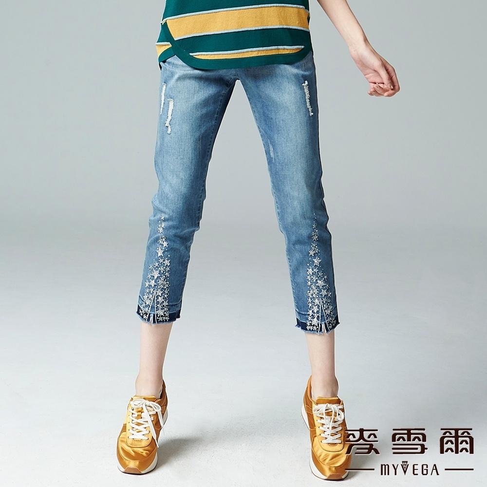 麥雪爾 星星貼鑽鬆緊腰牛仔褲