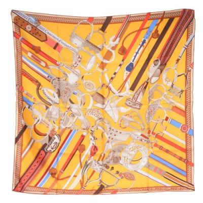 HERMES 經典Concours D triers系列圖騰絲質方巾/披巾(橙黃)