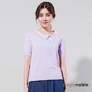 獨身貴族 日式優雅條紋蝴蝶結翻領針織衫(2色)