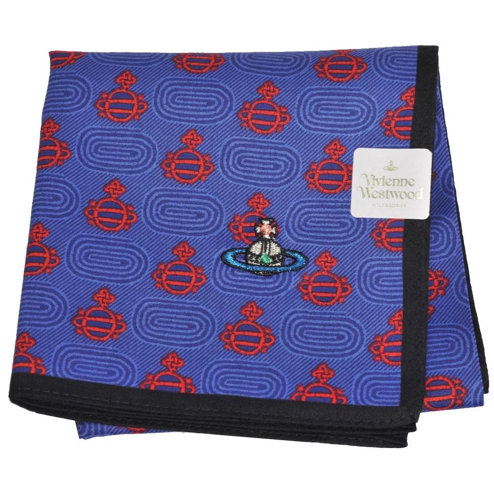 VIVIENNE WESTWOOD 繽紛行星圖騰LOGO彩色刺繡帕領巾(藍/黑邊)
