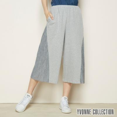YVONNE 拼接壓褶布七分褲-灰M