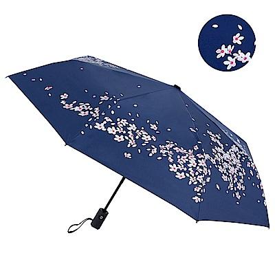 2mm 100%遮光 櫻花物語黑膠降溫自動開收傘 (藍夜櫻)