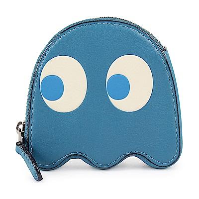 COACH PAC-MAN 小精靈造型皮革零錢包-藍色