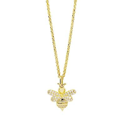 apm MONACO法國精品珠寶 閃耀金色蜜蜂鑲鋯可調整長項鍊