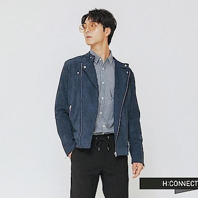 H:CONNECT 韓國品牌 男裝-率性修身騎士外套-藍